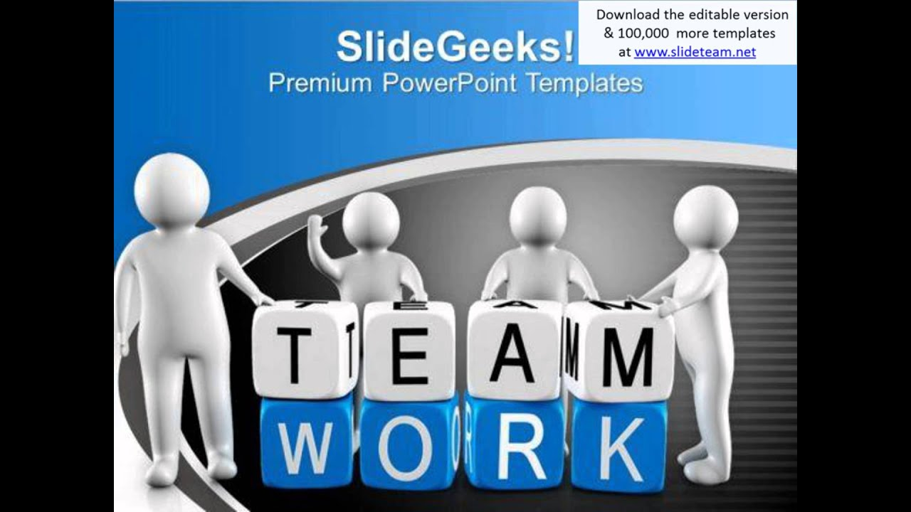 team building powerpoint presentation templates - 3d men with teamwork blocks business powerpoint templates