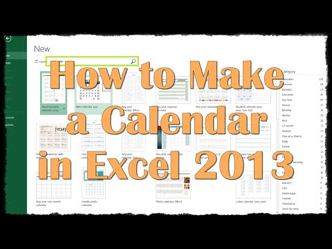 How to Make a Calendar in Excel 2013 - YouTube