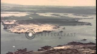 Aerial view of naval base and submarines underway in the Pearl Harbor, Hawaii, on...HD Stock Footage