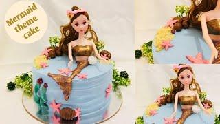 ഈ ഒരു ഫ്രൂട്ട് കൊണ്ടുള്ള കേക്ക് കഴിച്ചിട്ടുണ്ടോ || Mermaid theme cake || Custard apple cake recipe.