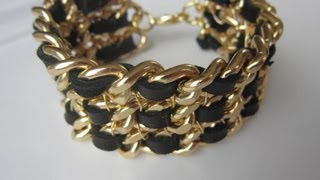 Chain Leather Bracelet .  DIY.  Net  A Porter.  Браслет из кожаных лент и цепочек.