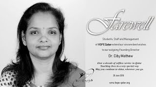 HOPE Qatar : Farewell to Founding Director : Dr. Ciby Mathew
