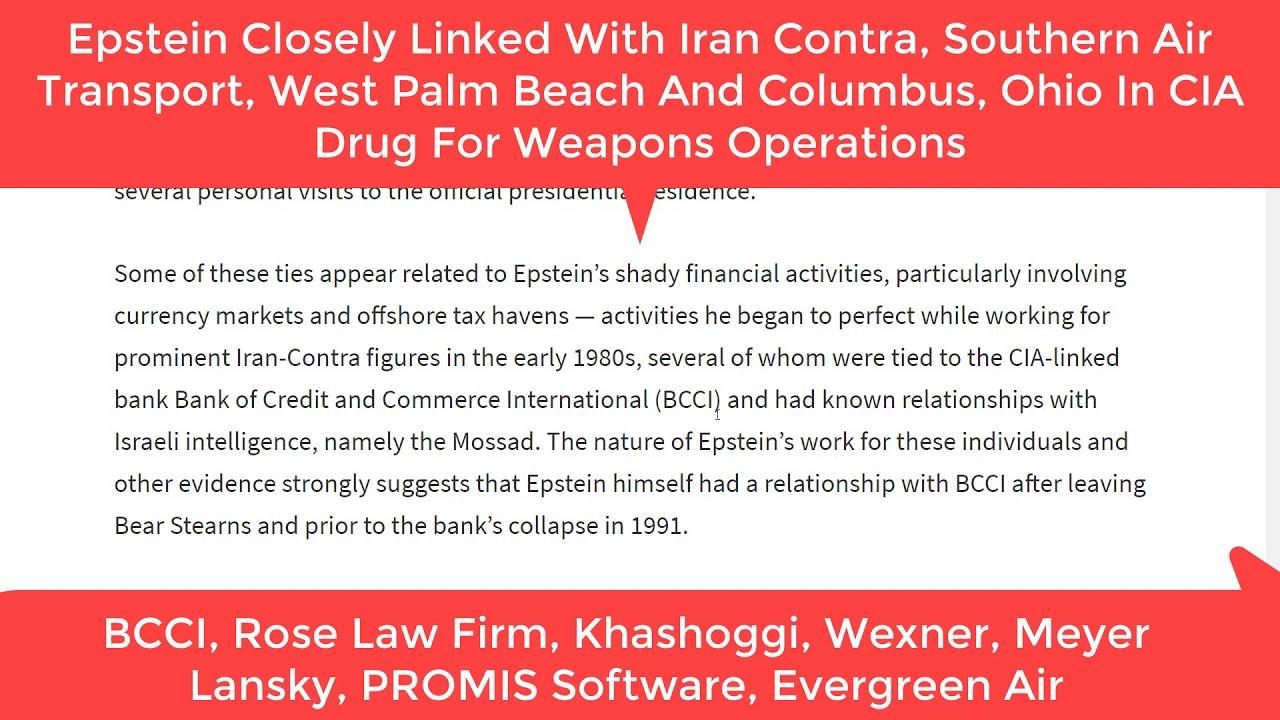 August 24th, 2019  MSM Delivers - MSM Confirms Epstein Iran Contra Links To BCCI, Khashoggi, Lansky