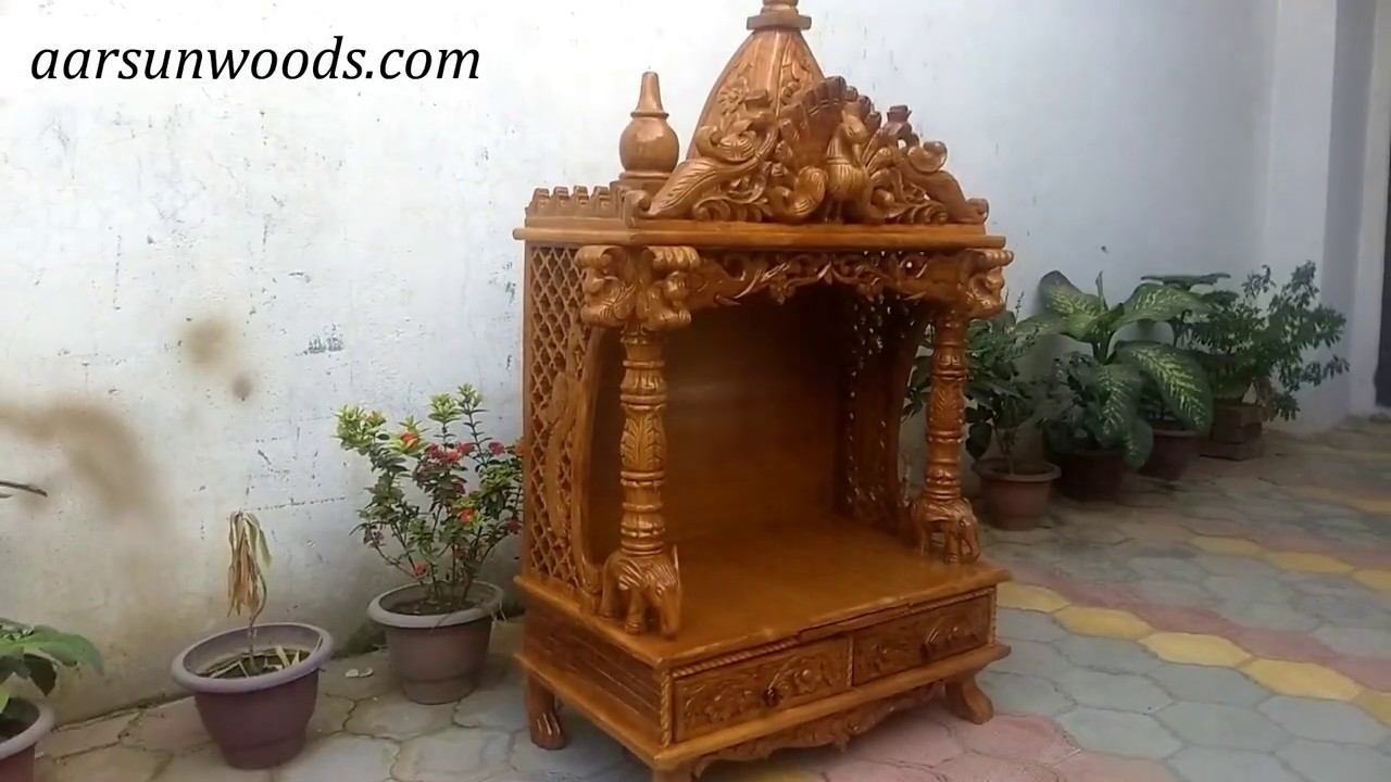 121 Wooden Mandir For Puja Ghar Home Office Temple Designs Buy Online Aarsun Art Of India Youtube