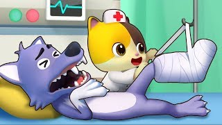 Big Bad Wolf Got Hurt | Doctor Cartoon | Boo Boo Song | Kids Songs | Kids Cartoon | BabyBus