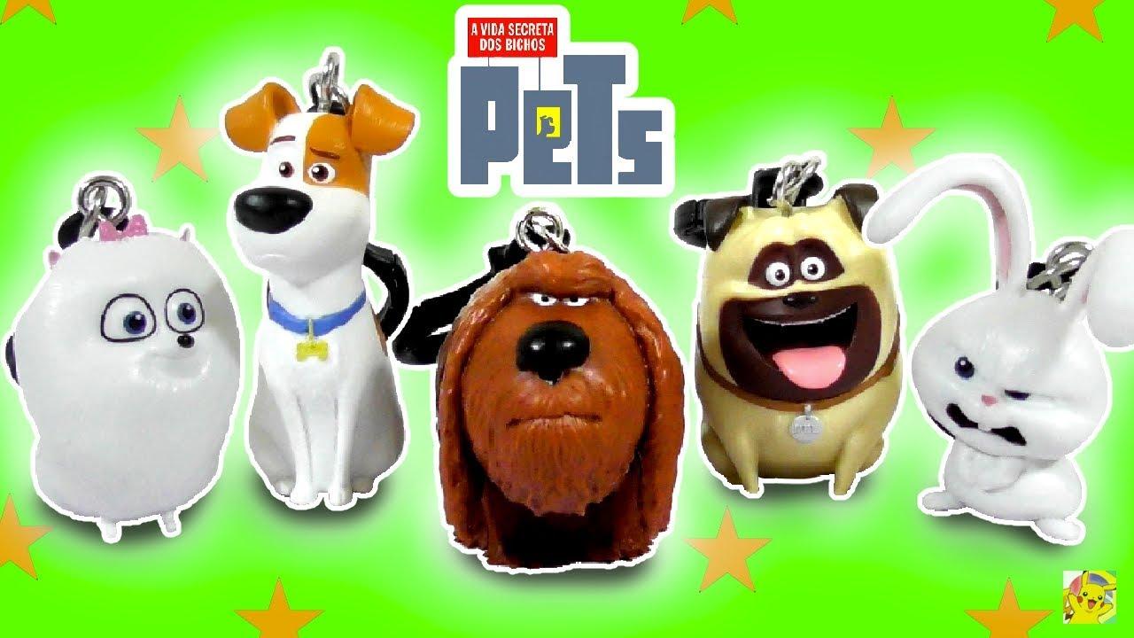 BRINQUEDOS DO PETS - A Vida Secreta dos Bichos! Coleção de Chaveirinhos do Max, Duke, Gigi e mais