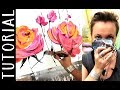 Acrylicpainting TUTORIAL - abstract painting - acryl malen lernen - floral art GERMAN & ENGLISH