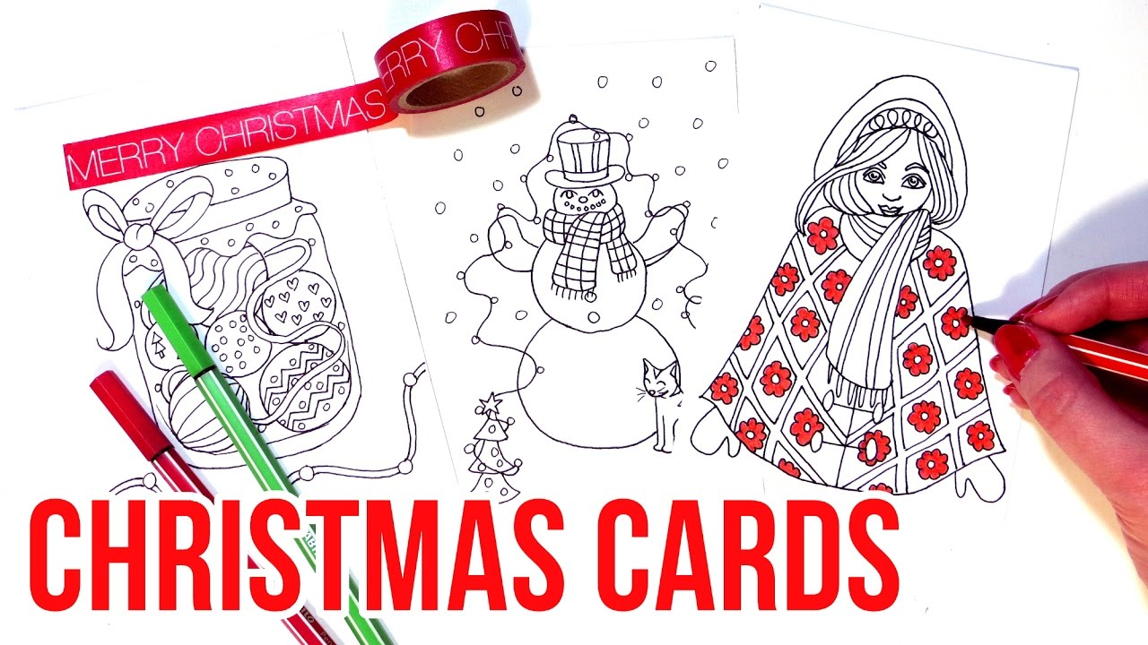 Making Christmas COLORING Cards 2016