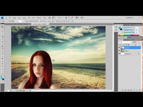 Adobe Photoshop tutorial - How to crop (cut out) a person and put onto another background