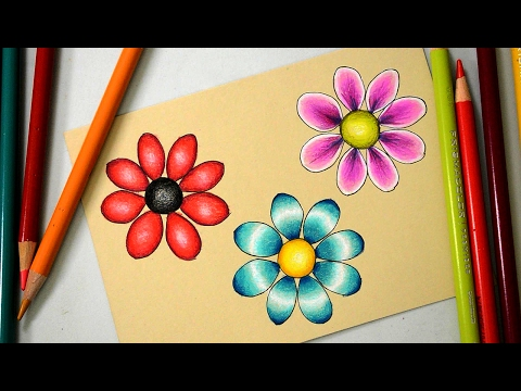 3 Ways to Color a Basic Flower with Prismacolor Colored Pencils
