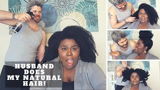 Husband Does My Natural Hair Challenge!   #BeauShae