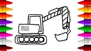Vẽ máy xúc đất - Vẽ tranh tô màu máy xúc | Drawing a excavator