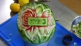 #203 How to carve a watermelon with logo, rose & leaf - carving garnish lessons