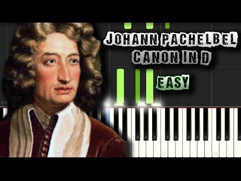 Johann Pachelbel - Canon in D - EASY Piano Tutorial Synthesia (Download MIDI)