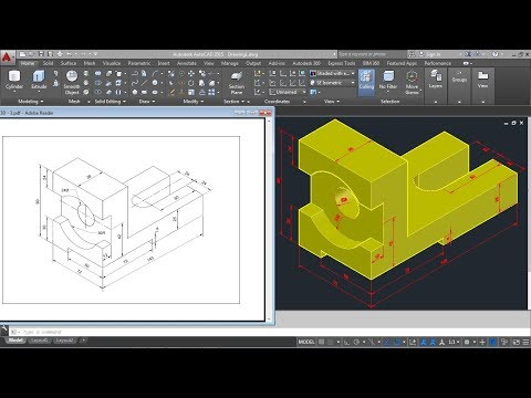 AutoCAD 2015 3D Mechanical Modeling Tutorial | AutoCAD 3D Practice Drawing