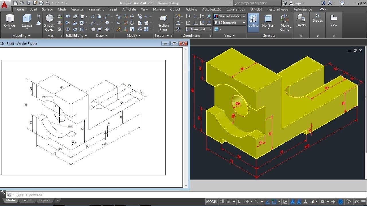 Autocad 2015 3d mechanical modeling tutorial | autocad 3d practice.