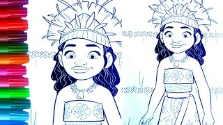 Disney Princess Of Pacific MOANA Learning Colors For Kids Coloring Book Pages Fun Videos