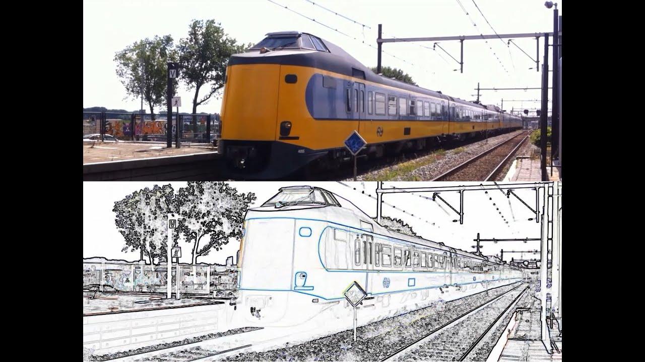 Ns Icmm Trein Wagens 4055 4221 Rijdt Door Rotterdam Zuid Beeld In Origineel Lijntekening Youtube
