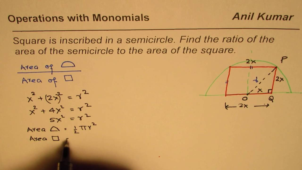 Square Is Inscribed In Semicircle Find Ratio Of Their Area