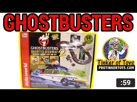 AUTO WORLD SRS317 GHOSTBUSTERS HAUNTED HIGHWAY 2 SLOT CAR RACE SET