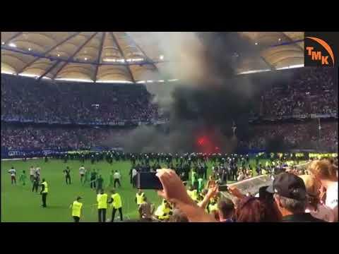 Relégation de Hambourg en 2. division : revivez la colère des supporters. Envahissement du stade