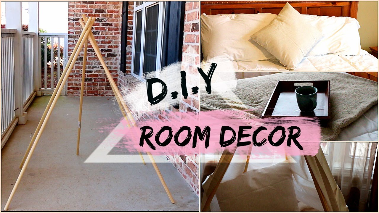 D i y room decor tumblr inspired modern chic youtube for Room decoration pics