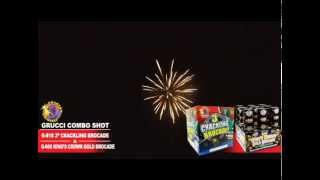 "G-818 3"" Crackling Brocade and G-660 King's Crown Gold Brocade - Phantom Fireworks"