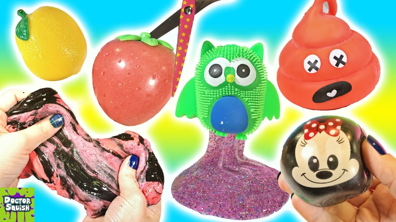 Cutting Open Recycled Squishy Toys! Slime Mixing! Walking ...