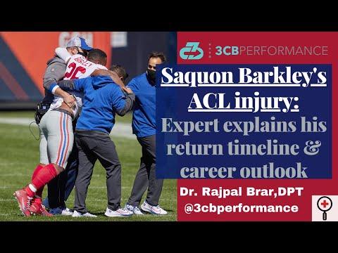 "[OC] Saquon Barkley's right knee ""unhappy triad"" injury: Explaining his return timeline & post-injury performance/outlook"