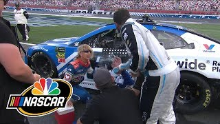 Bubba Wallace throws water in Alex Bowman's face after Charlotte Roval | Motorsports on NBC