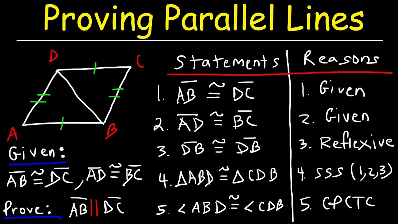 proving parallel lines with two column proofs geometry practice problems youtube. Black Bedroom Furniture Sets. Home Design Ideas