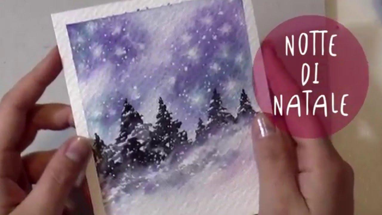Youtube Sfondi Natalizi.Paesaggio Notte Di Natale Tutorial Acquerello Notte Stellata Buon Natale Youtube
