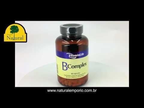 B Complex Vitamin Life Vitaminas B1, B2, B6, B12, Niacina e Ácido 90 cápsulas