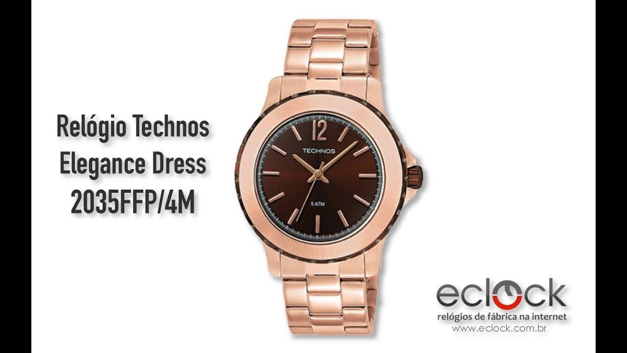 Relógio Technos Feminino Elegance Dress 2035FFP 4M - Eclock - YouTube e4b1bf719b