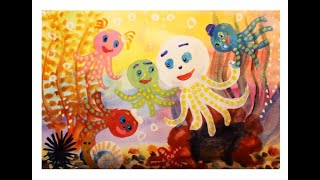 Как нарисовать осьминога поэтапно. Видео урок рисования гуашью для детей 4-5 лет.