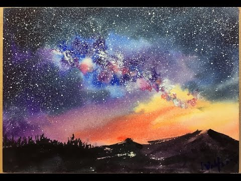 Watercolor Starry Night Sky Demonstration