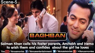 Salman calls his foster parents, Amitabh & Hema to wish them and confides  about the girl he loves