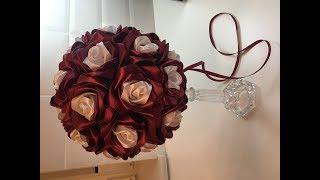 Украшение свадебного стола, wedding table decoration , цветы из лент
