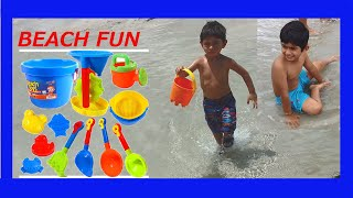 KIDS HAVING FUN AT THE BEACH-Playing with Beach TOYS- Sand Play-Writing ABC-Kids Z Fun