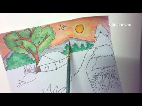 How to draw a beautiful sunset scenery | village scenery painting with watercolor pencils | drawing