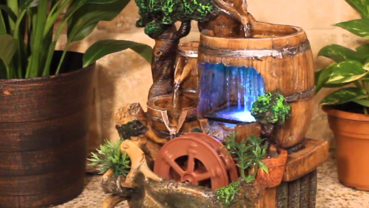 Barrels With Spinning Wheel And Color LED Lights Table Top Water Fountain    YouTube