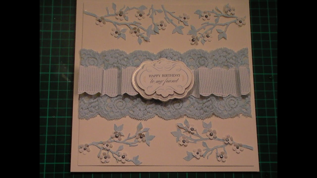 Papercraft 76. Cardmaking Tutorial - Blue & Ivory Anna Griffin Paper Folding Blanket Border Card
