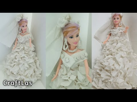 Barbie Diy Wedding Gown With Tissue Paper | CraftLas