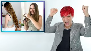 Hairdresser Reacts To People Cutting Off Their Extremely Long Hair
