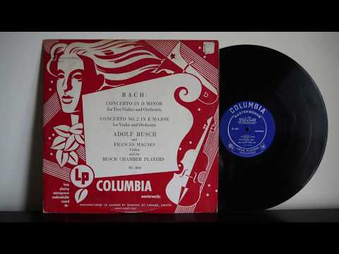 Bach, Busch Chamber Players – Concerto Violin Columbia ML 4002 1948 Canada Pressing