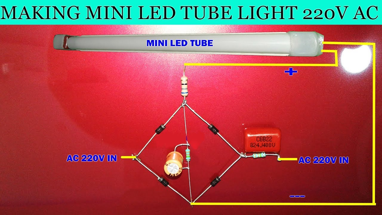 making mini led tube light 220v ac youtube. Black Bedroom Furniture Sets. Home Design Ideas