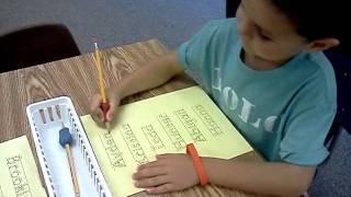 Ayden writing his name!