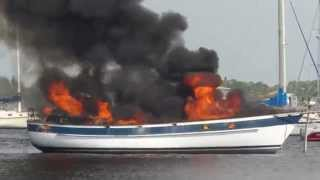 Burning Sailboat Stuart Florida Anchorage August 31 2014