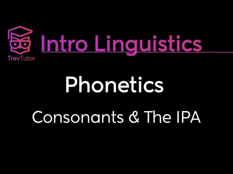 [Introduction to Linguistics] Consonants: Place of Articulation, Manner of Articulation, Voicing