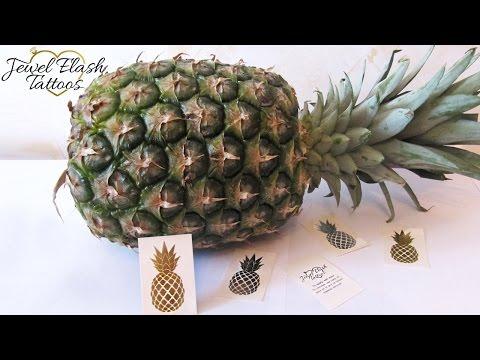Pineapple Tattoos Application Silver Metallic Temporary Tattoo by Jewel Flash Tattoos Jewelry Tats